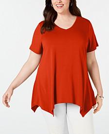 Plus Size V-Neck Handkerchief-Hem Top, Created for Macy's