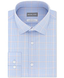Michael Kors Men's Classic/Regular Fit Non-Iron Airsoft Performance Stretch Blue Check Dress Shirt