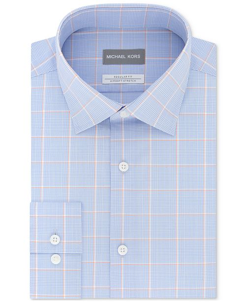 Michael Kors Men's Classic/Regular Fit Non-Iron Airsoft Performance Stretch Blue Check Dress Shirt