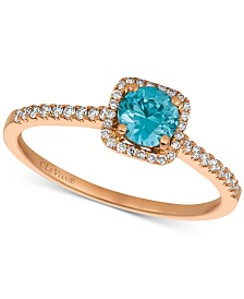 Le Vian® Blueberry Zircon™ (1/2 ct. t.w.) & Vanilla Diamonds® (1/6 ct. t.w.) Ring in 14k Rose Gold