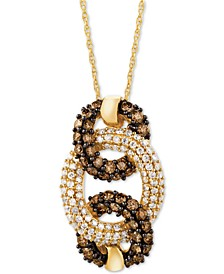 "Chocolatier® Diamond 18"" Pendant Necklace Triple Circle (7/8 ct. t.w.) in 14k Gold"