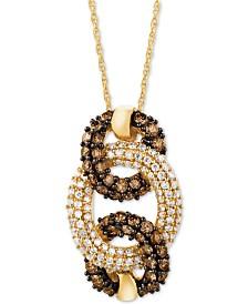 "Le Vian Chocolatier® Diamond 18"" Pendant Necklace Triple Circle (7/8 ct. t.w.) in 14k Gold"