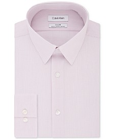 Calvin Klein Men's STEEL Slim-Fit Non-Iron Performance Stretch Pink Stripe Dress Shirt