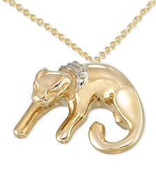 "Diamond Accent Baby Leopard 18"" Pendant Necklace in 18k Gold-Plated Sterling Silver"