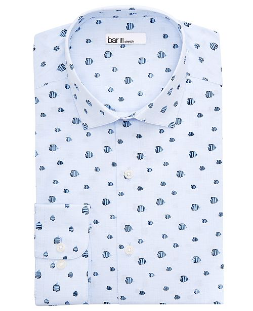 Bar III Men's Slim-Fit Fly Fish Dress Shirt, Created For Macy's