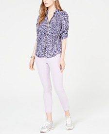MICHAEL Michael Kors Printed Utility Shirt & Izzy Ankle Skinny Jeans