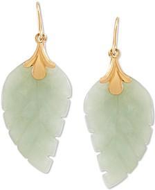 Jade Leaf Earrings in 10k Gold
