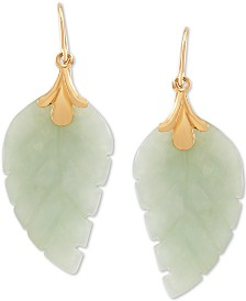 Jade Leaf Earrings in 10k Gold