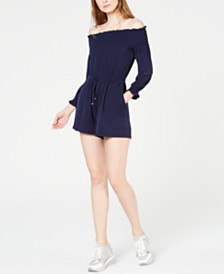 MICHAEL Michael Kors Off-The-Shoulder Drawstring Romper