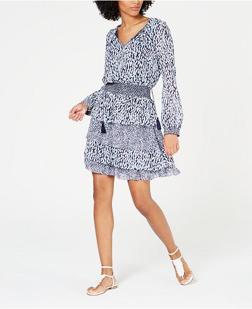 Michael Kors Tiered Printed Dress, Regular & Petite