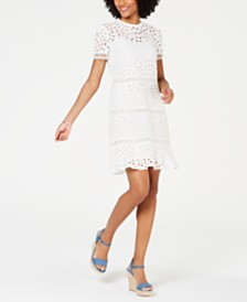 MICHAEL Michael Kors Eyelet-Embroidered Circle-Trim Dress