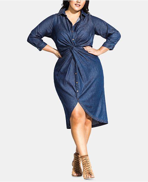 City Chic Trendy Plus Size Chambray-Twist Dress & Reviews ...