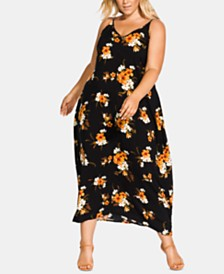 City Chic Plus Size Aruba Printed V Maxi Dress