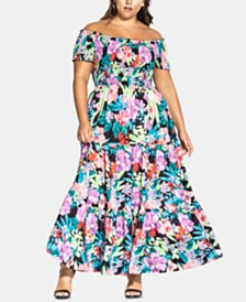 City Chic Trendy Plus Size Off-The-Shoulder Floral-Print Maxi Dress