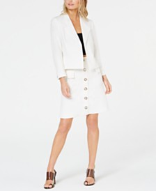 Nine West Wing-Lapel Jacket & Button-Front Skirt