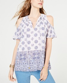 MICHAEL Michael Kors Printed Cold-Shoulder Top