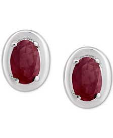 Ruby Oval Stud Earrings (1-1/5 ct. t.w.) in Sterling Silver