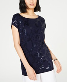 MICHAEL Michael Kors Sequined Cap-Sleeve Top