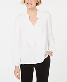 Kasper Tie-Neck Blouson-Sleeve Top