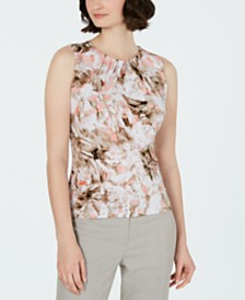 Calvin Klein Pleated-Neck Printed Top