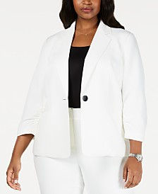 Kasper Plus Size Textured Single-Button Jacket