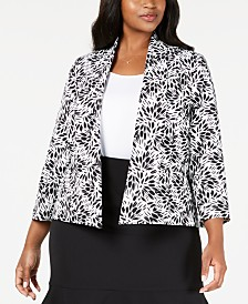 Kasper Plus Size Sunburst-Print Jacket
