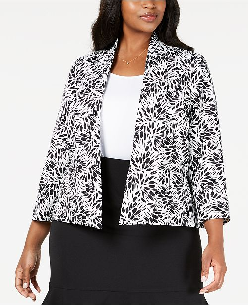Kasper Plus Size Sunburst-Print Jacket