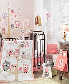 Family Tree with Owls 4-Piece Baby Crib Bedding Set