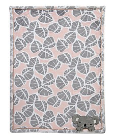 Lambs & Ivy Calypso Koala Leaf Print Luxury Coral Fleece Baby Blanket