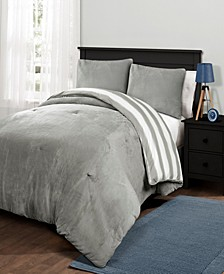 Plush Stripe 3Pc Full/Queen Comforter Set
