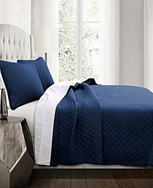 Ava Diamond Oversized Cotton 3Pc Full/Queen Quilt Set