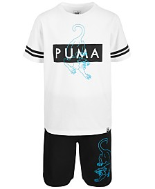 Puma Big Boys Fashion Logo T-Shirt & French Terry Shorts Separates