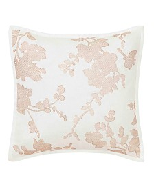 Laura Ashley Lorene Crewel Embroidered Blush Square Pillow