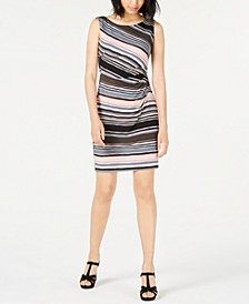 Petite Ruched-Side Printed Dress