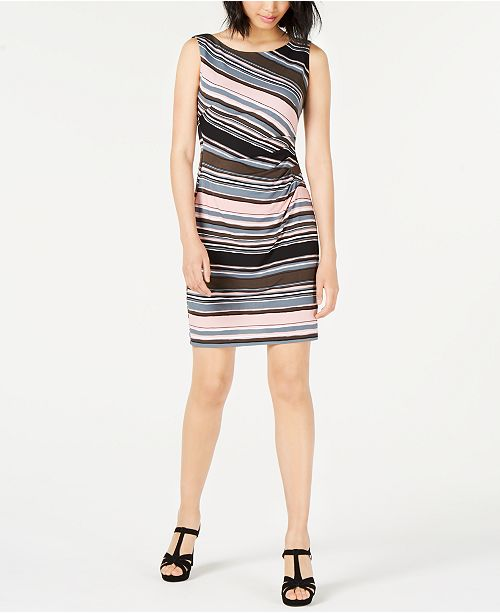 Connected Petite Ruched-Side Printed Dress