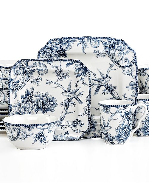 222 Fifth Adelaide Blue Square 16-Pc. Set, Service for 4 ...