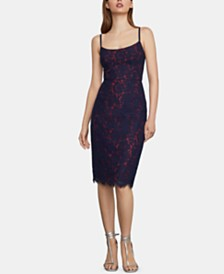 BCBGMAXAZRIA Strappy Lace Sheath Dress