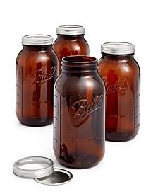 Set of 4 Half Gallon Amber Jars