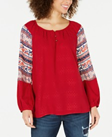 Style & Co Printed-Sleeve Peasant Top, Created for Macy's