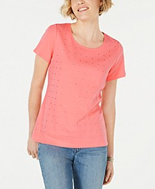 Cotton Embellished Scoop-Neck Top, Created for Macy's