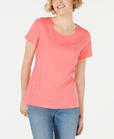 Karen Scott Cotton Embellished Scoop-Neck Top, Created for Macy's