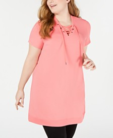 Ideology Plus Size Lace-Up Tunic, Created for Macy's