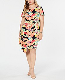 Plus Size Floral Printed Flounce Dress