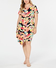 Connected Plus Size Floral Printed Flounce Dress