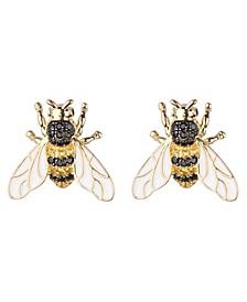 Black/Gold Cubic Zirconia Bee Stud Earring
