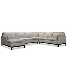 "Virton 136"" 4-Pc. Leather Chaise Sectional Sofa, Created for Macy's"