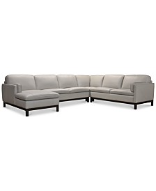 Virton 4-Pc. Leather Chaise Sectional Sofa, Created for Macy's