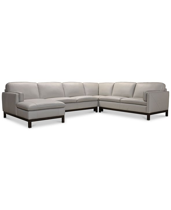 """Furniture Virton 136"""" 4-Pc. Leather Chaise Sectional Sofa, Created for Macy's"""