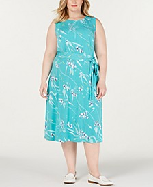 Plus Size Floral-Print Midi Dress, Created for Macy's