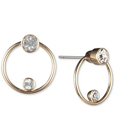 DKNY Gold-Tone Crystal Ring Front-and-Back Earrings